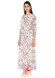 off white georgette kurti with boat neck maxi dress style