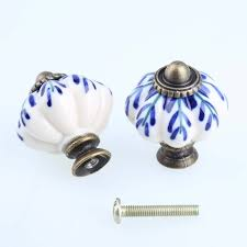 33mm white and blue porcelain drawer cabinet knobs pulls antique