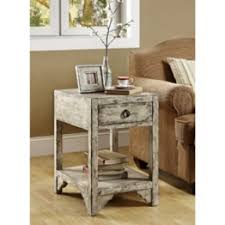 End Tables Designs This Shabby Chic Rustic Style Into The Casually Designed Room It Is A Piece Wooden Material Books Shelves Bottom Botle