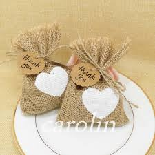 50pcs Burlap Bag Jute White Heart Gift Bags Candy With Thank You Tag Wedding Gifts For Guests Rustic Decor Vintage In Wrapping