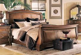 American Drew Grand Revival Dark Leather Sleigh Bed 131 305R at