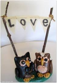 Love Owls Bride Groom Wedding Cake Topper With Rustic Bunting Owl Country