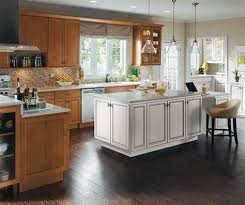 Two Sided Fireplaces Dining Room Rustic With Area Rug Maple Wood Cabinets White Kitchen Island Homecrest