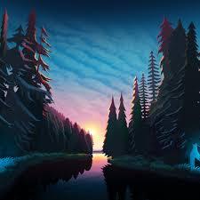 100 Minimalist Landscape Sundown