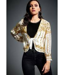 Jywal Mitsy 1920s Gatsby Art Deco Gold Embellished Jacket In Ivory