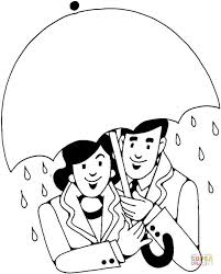 Click The Lovers Under Rain Coloring Pages To View Printable