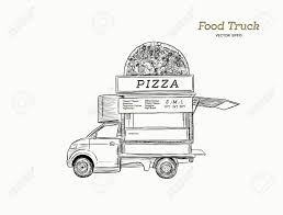 100 Mobile Pizza Truck Food Van With Vector Illustration Hand Draw