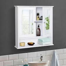 kleankin spiegelschrank badschrank wandschrank hängeschrank 3 ablage mdf weiß weiß