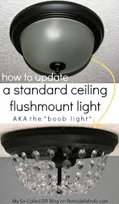 update a dome ceiling light with faceted crystals lights