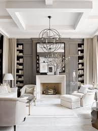 White Living Room With Dark Taupe Wood Paneling