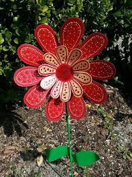 Red Daisy Metal Flower Garden Stake By FlowerPowerShowers