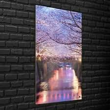 details zu wandbilder glasbilder wohnzimmer 70x140 tokio kirschblüte