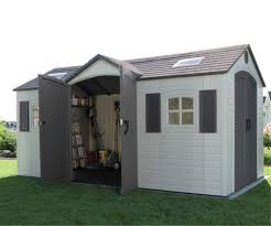 15ft x 8ft lifetime dual entry storage shed free tool corral