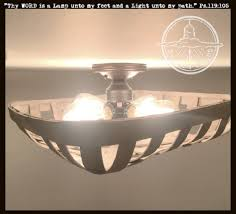 100 Wooden Ceiling Tobacco Basket 4Light Flush Mount Light