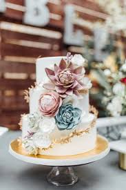 Blush And Blue Succulents Add A Rustic Vibe When Wrapped Around Traditional White Cake