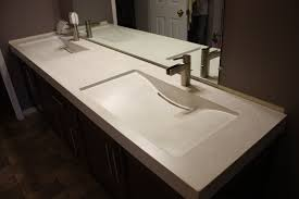 Double Sink Vanity Top by Concrete Vanity Top C W 2 Integral Slot Drain Mirage Sinks