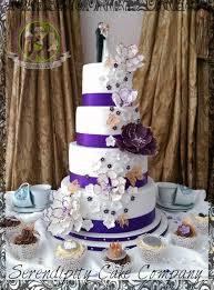 Purple And Gold Peony Wedding Cake