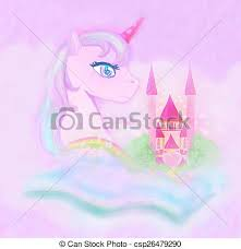 Cute Unicorn Rainbow And Fairy Tale Princess Castle