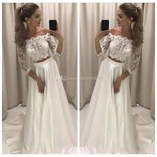 Discount Charming 2018 New Two Pieces A Line Wedding Dresses Lace