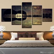 100 Www.homedecoration 2019 HD Home Decoration Room Poster 5 Panel Guitar Music Seaview Wall Art Pictures Printed Abstract Cuadros Painting Canvas Frame From Weichenart