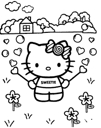 Hello Kitty On Flower Garden Coloring Page