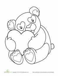 Kindergarten Holidays Seasons Worksheets Valentines Day Panda Coloring Page