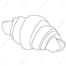 French Croissant For Breakfast Outline Raster Illustration Stock