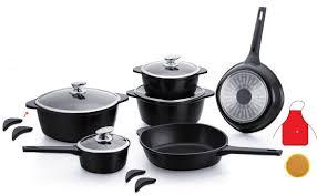 batterie cuisine batterie de cuisine 16 pièces induction marbre noir
