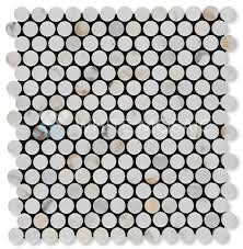 Oracle Tile And Stone Marble by White Mosaic Penny Round