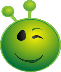 Green Alien Smiling Winking Emoji Clip Art