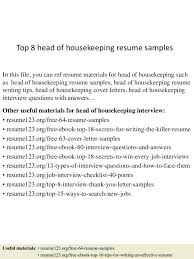 Sample Resume For Housekeeping Example