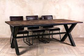 Industrial Style Dining Table Metal Top At Home And Interior Design Ideas Inside Decor Bench