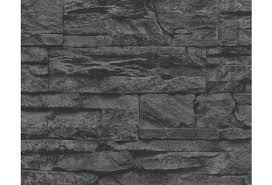 as création mustertapete wood n tapete natursteinoptik grau schwarz 707123