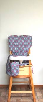 Custom Padded Eddie Bauer Wooden High Chair Pad, Blue And Pink Drops ...