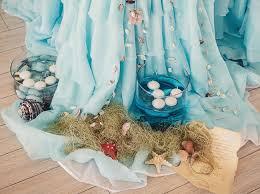 Beach Wedding Decor Ideas Reception Tablecloth Organza Floating Candles Seashells
