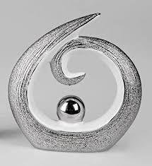 itrr moderne skulptur deko objekt silber weiss ca 15cm