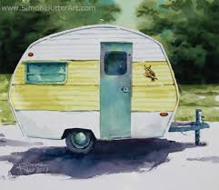 1972 Yellow Sprite Simone Ritter Art Watercolor 2017 Vintage Camper