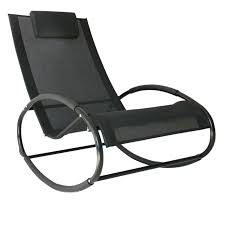 Outsunny Orbital Zero Gravity Rocking Chair, 105Lx62Wx88H Cm,Texteline-Black