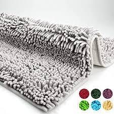 dóff badematte badezimmerteppich rutschfest badvorleger waschbar badteppich aus chenille mikrofaser für badezimmer weich wc bodenmatte grau