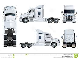 100 Truck Top Vector Semi Template Isolated White Side Front Back View