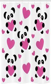 abakuhaus duschvorhang badezimmer deko set aus stoff mit haken breite 120 cm höhe 180 cm karikatur pandas herzen kaufen otto