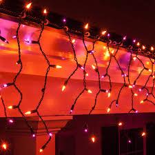 Diy Halloween Pathway Lights by 150 Purple Orange Halloween Icicle Lights Black Wire Icicle