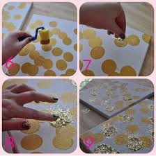 DIY Metallic Gold And Glitter Artwork On Canvas