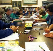 Members Gather For The Monthly Coloring Club At Library