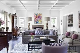 Purple And Gray Living Room With Glossy White Box Beams Velvet Sofa Chipper Pillows Chairs Plum Chinese Black Lacquer