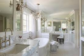 french master bathroom with his and hers washstands french