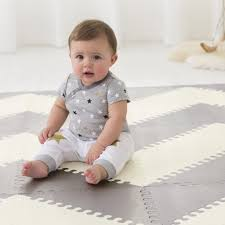 playspot geo foam floor tiles gray cream timeless baby