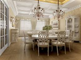 Marvelous Image Of Dining Room Decoration Using Large Clear Glass Crystal Unique Chandeliers Including Round Pedestal White
