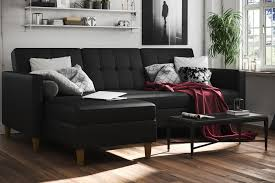 Kebo Futon Sofa Bed Weight Limit by Dhp Furniture Hartford Storage Sectional Futon Black Faux Leather
