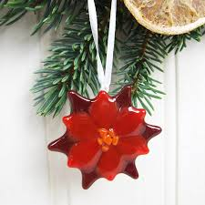 Handmade Glass Poinsettia Christmas Tree Decoration